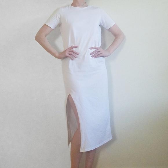 ASOS Dresses & Skirts - Asos White T-Shirt Midi Dress with Side Slit
